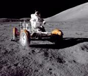 Cernan Driving the Rover